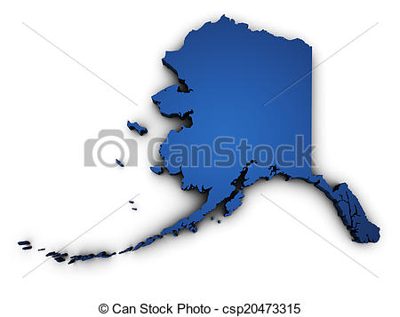 Clipart of Map Of Alaska 3d Shape - Shape 3d of Alaska state map ... image transparent library