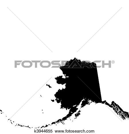 Clipart of black vector map of Alaska k3944655 - Search Clip Art ... jpg free stock