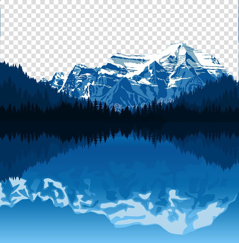 Alaska scenery clipart picture royalty free download Snow-capped mountains reflected on body of water illustration ... picture royalty free download