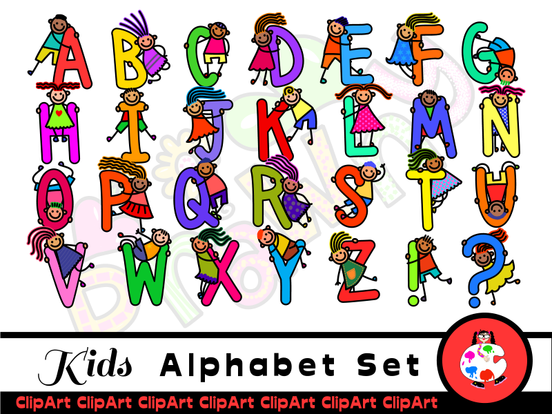 Albabet clipart jpg royalty free library Diverse Happy Kids Alphabet ClipArt jpg royalty free library