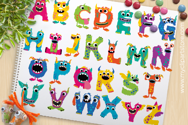Albabet clipart clip black and white Monster Alphabet Clipart, ABC Letters - Vector Clipart clip black and white