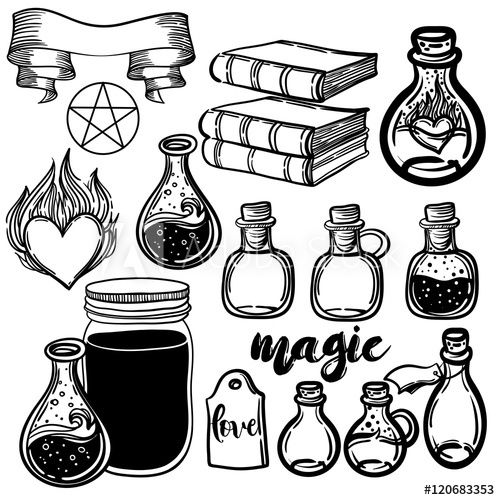 Alchemy bottle clipart vector black and white library Vector set of glass flasks. Magic potions set of magical tubes and ... vector black and white library
