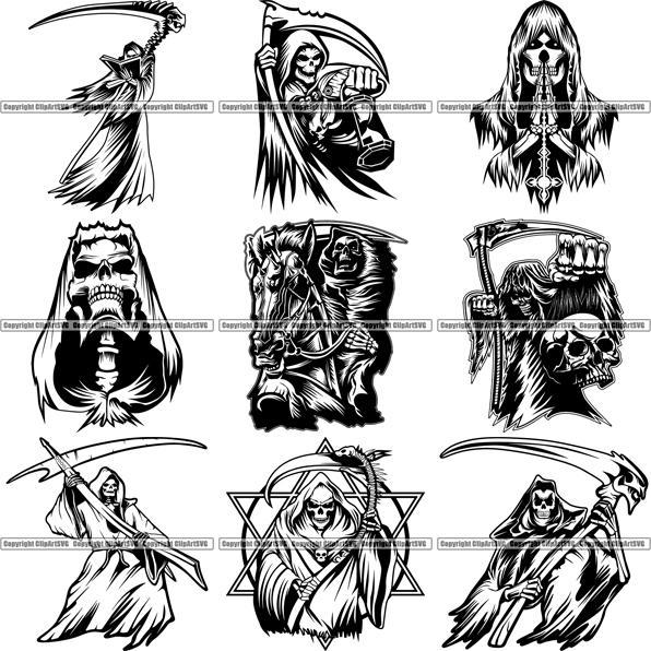 Alcohol and skelaton clipart png transparent download 9 Grim Reaper Top Selling Designs Skull Death Skeleton BUNDLE ClipArt SVG png transparent download