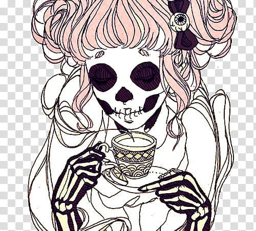 Alcohol and skelaton clipart graphic free download OwO, skeleton woman drinking coffee illustration transparent ... graphic free download
