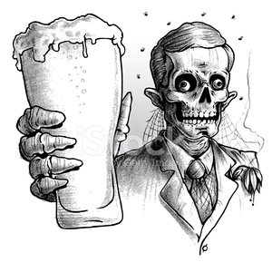 Alcohol and skelaton clipart picture freeuse Zombie Wearing Suit Drinking Glass of Beer, Black and White stock ... picture freeuse