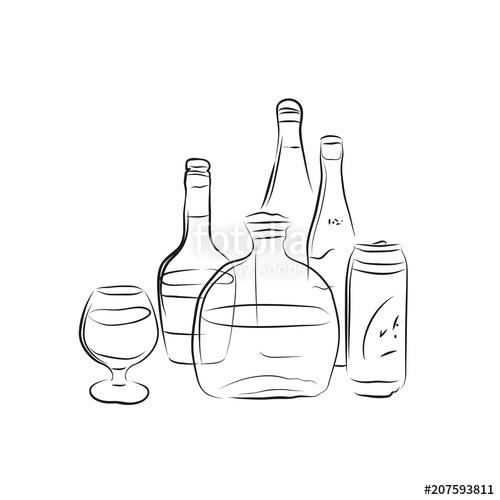 Alcohol background clipart clip art Alcohol Bottles Scetch Set. Vector illustration on transparent ... clip art
