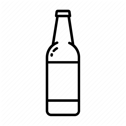 Beer bottle clipart black and white