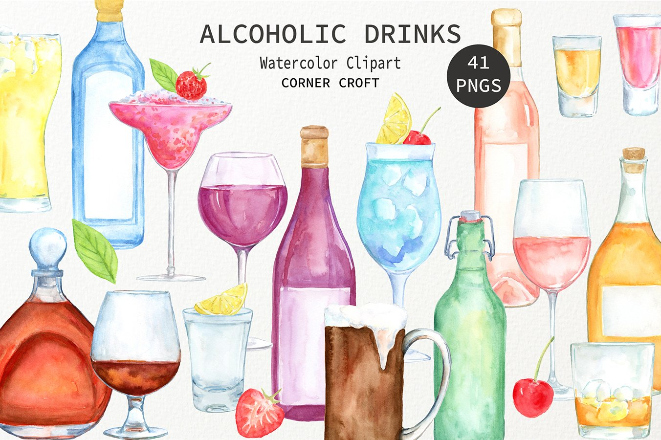 Alcohol clipart illustration png library library Watercolour clipart alcohol, wine, beer, liquor, vodka, cocktail ... png library library