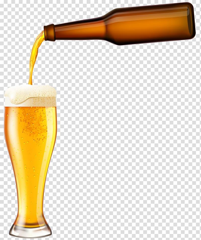 Alcohol clipart illustration png transparent Beer bottle pouring beer to pilsner glass illustration, Low-alcohol ... png transparent