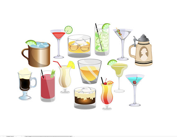 Alcoholic drinks clipart images clipart royalty free download HAPPY HOUR CLIPART - alcohol beverages cocktail icons - Instant ... clipart royalty free download