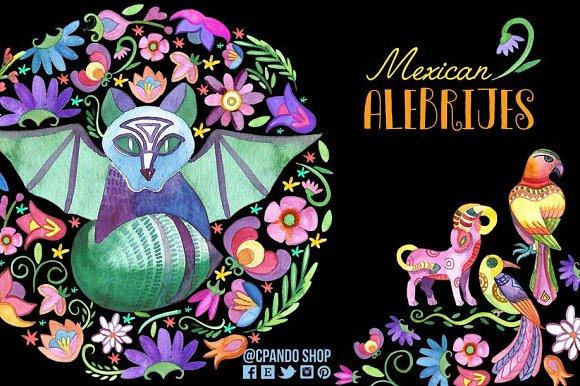 Alebrijes clipart image black and white Mexican Alebrijes watercolor clipart image black and white
