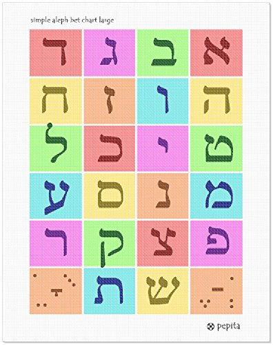 Alef bet clipart free graphic library download Amazon.com: pepita Simple Aleph Bet Chart Large Needlepoint Kit graphic library download