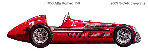 CAR blueprints - 1950 Alfa Romeo 158 F1 OW blueprint clip art freeuse stock