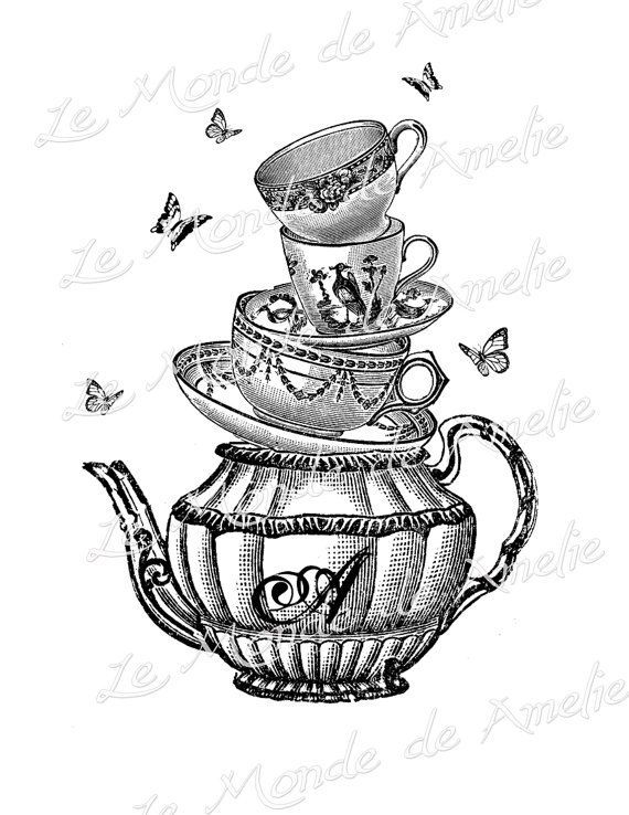 Teapot whimsical clipart mad hatter