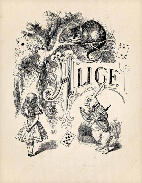 Alice in wonderland bill clipart jpg black and white library ALICE in WONDERLAND Printable Instant Download Clipart - Cheshire ... jpg black and white library