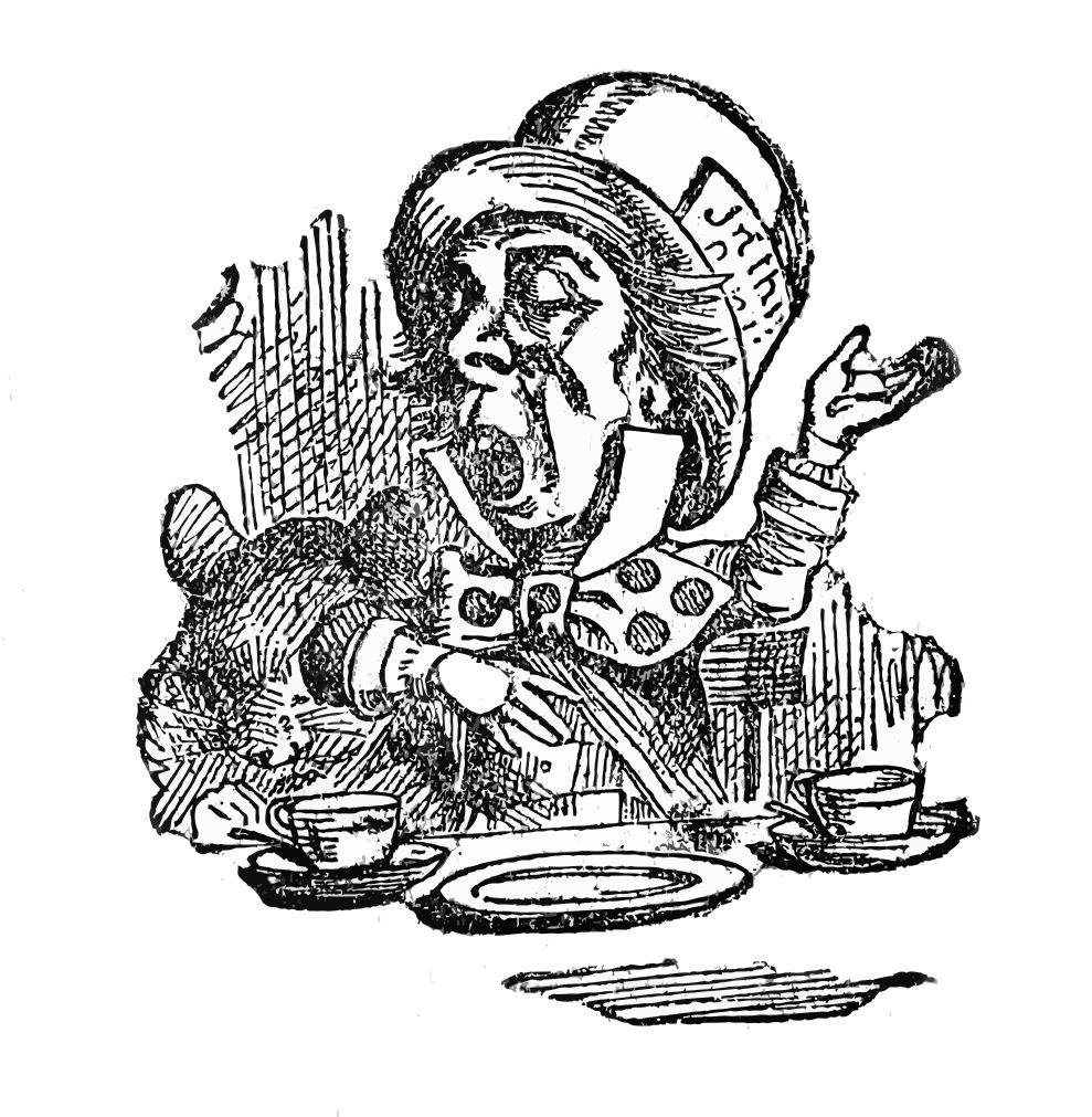 Alice in wonderland black and white clipart svg freeuse download Alice in Wonderland Clip Art - Alice, Mad Hatter, Cat - The Graphics ... svg freeuse download