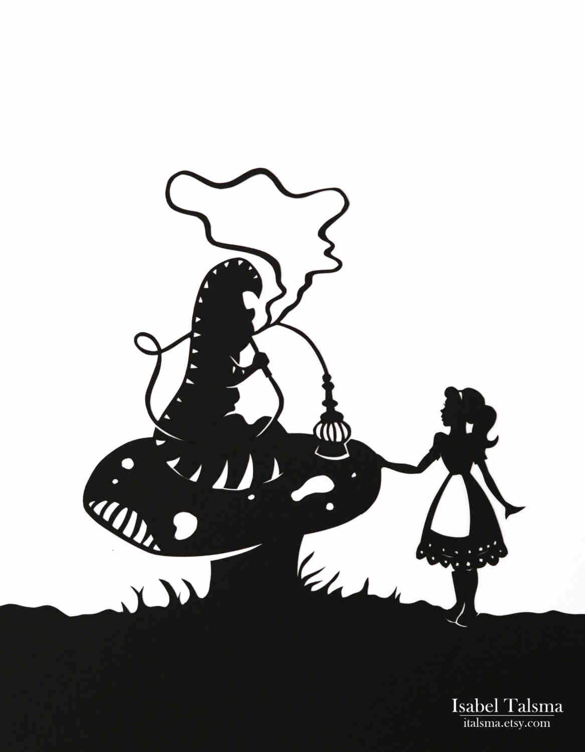 Alice in wonderland clipart cattipilar black and white png library Caterpillar & Alice paper craft silhouette | Carving Templates ... png library