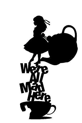 Alice in wonderland clipart cattipilar black and white image black and white library Alice In Wonderland We\'re All Mad Here Black Decal Vinyl Sticker image black and white library