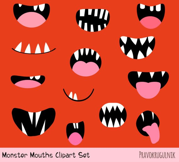 Alien mouth clipart svg transparent download Monster mouths clipart set Silly alien teeth clip art Funny face ... svg transparent download