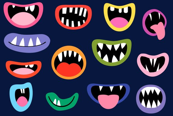 Alien mouth clipart clip freeuse library Monster mouths clipart set Funny face element Silly alien teeth clip ... clip freeuse library