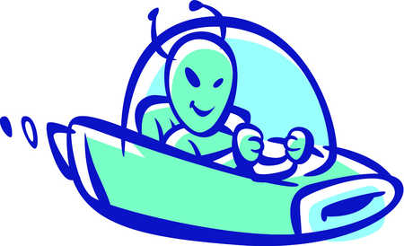 Alien ships color clipart banner Stock Illustration - Cartoon drawing of an alien driving a spaceship banner