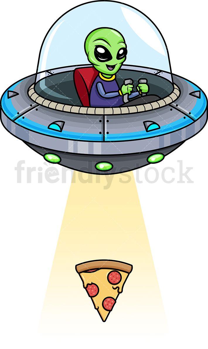 Alien spaceship beam clipart jpg transparent stock Alien Kidnapping Pizza Slice | Alien abduction art in 2019 | Cartoon ... jpg transparent stock