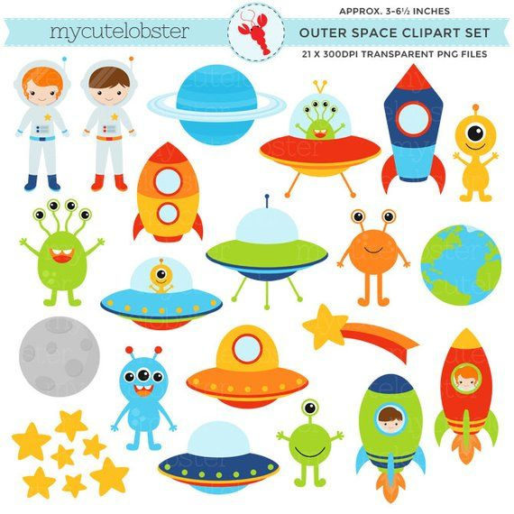 Outerspace clipart graphic royalty free stock Outer Space Clipart Set - clip art of aliens, spaceships, astronauts ... graphic royalty free stock