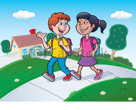 Walk around school clipart png free stock Kids Walking To School Clipart Two Csp - Clipart1001 - Free Cliparts png free stock
