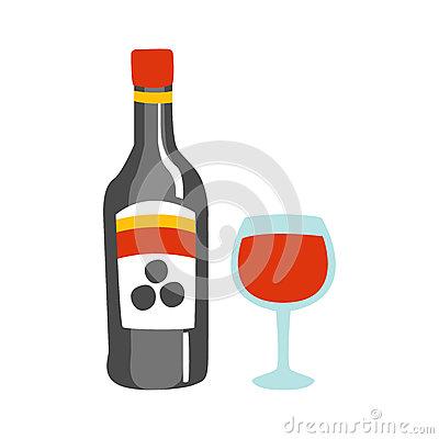 Flasche rotwein und ein. Alkohol trinken clipart