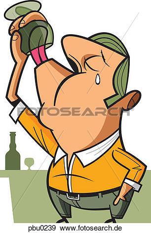 Stock illustration a mann. Alkohol trinken clipart