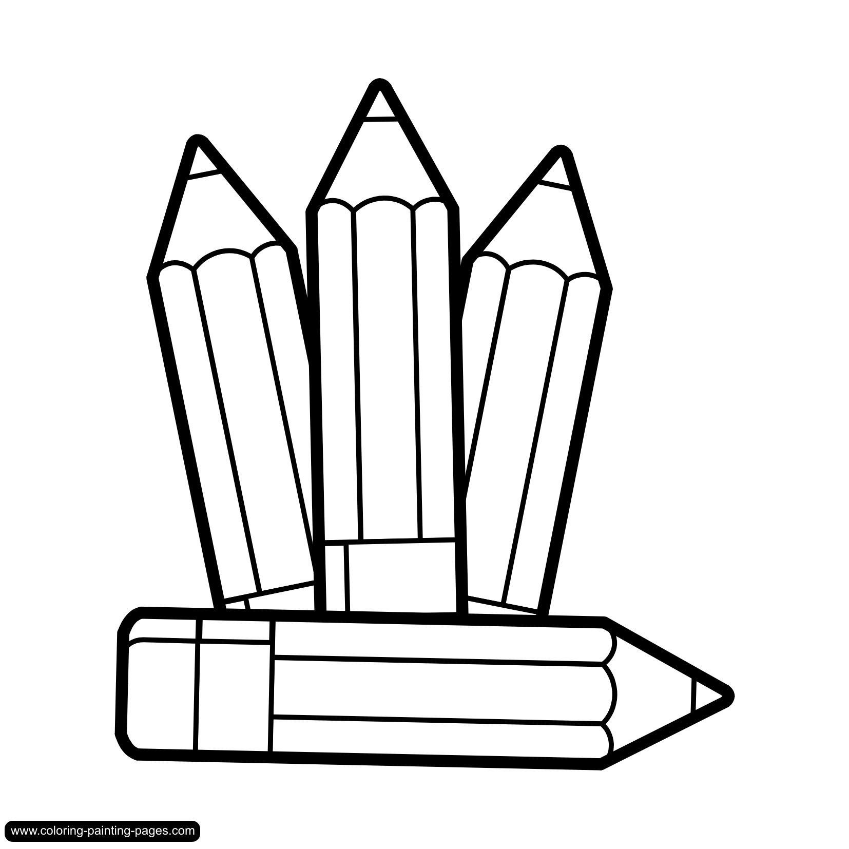 Pencil and crayons clipart in black and white