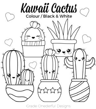 All black and white and color clipart picture black and white Kawaii Cactus Clipart: Color, Black and White, Paper, CU Okay ... picture black and white