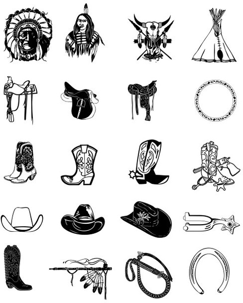 Cowboy accessories clipart png royalty free stock Black and white clip art cowboy accessories Free vector in Adobe ... png royalty free stock
