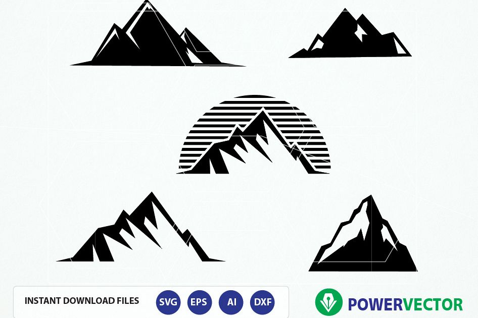 Mountai clipart clip art black and white library Mountain SVG File. Mountain vector. Mountain clipart. Mountain digital  clipart for silhouette cameo, cricut- files digital download clip art black and white library