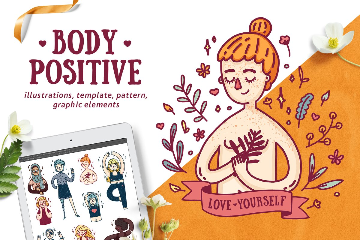 All gender body positive clipart black and white Set Body Positive Girls ~ Illustrations ~ Creative Market black and white