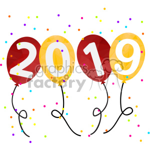 Free 2019 clipart svg black and white 2019 new year party balloons vector art clipart. Royalty-free GIF ... svg black and white