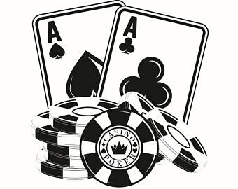 Black and white poker chip stack clipart