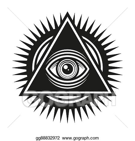 All seeing eye clipart black and white banner freeuse download Vector Illustration - Masonic symbol. all seeing eye inside pyramid ... banner freeuse download