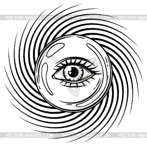 All seeing eye clipart black and white svg black and white library Magic ball with all seeing eye symbol - royalty-free vector clipart svg black and white library