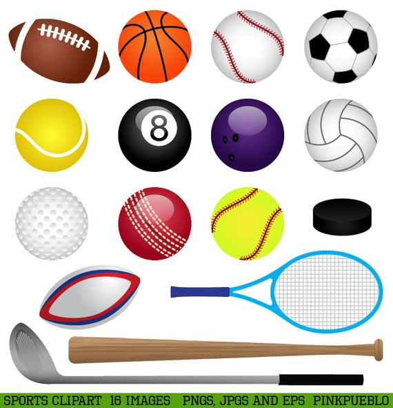 Sports pictures clipart black and white download Sports Clipart Clip Art, Basketball, Baseball, Football, Golf ... black and white download