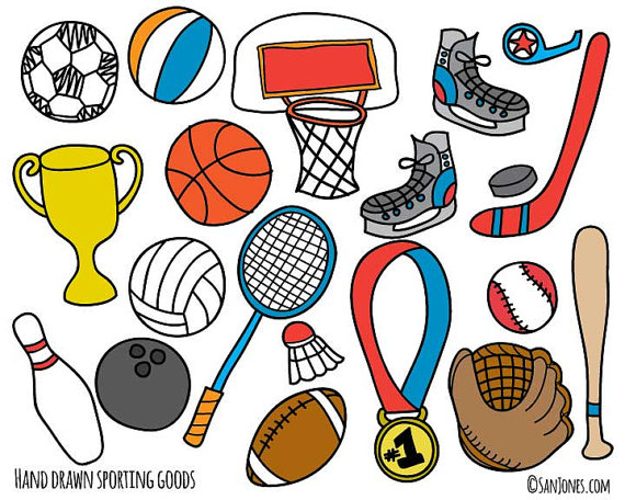 Clipart sports equipment jpg library Sports Clip Art - Hand Drawn Clip Art - Sporting Goods Clip Art ... jpg library