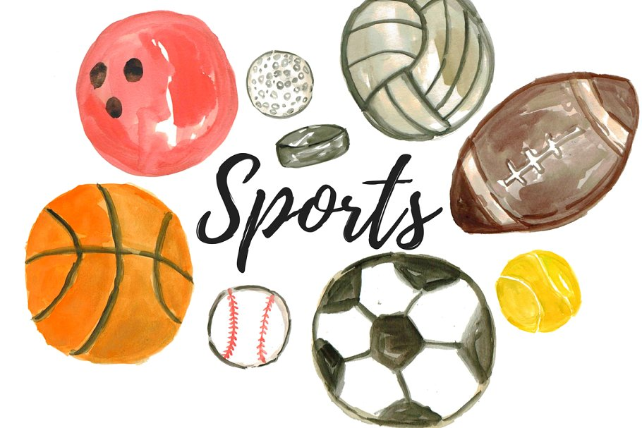 Sports pictures clipart graphic freeuse Watercolor Sport Balls Clipart graphic freeuse