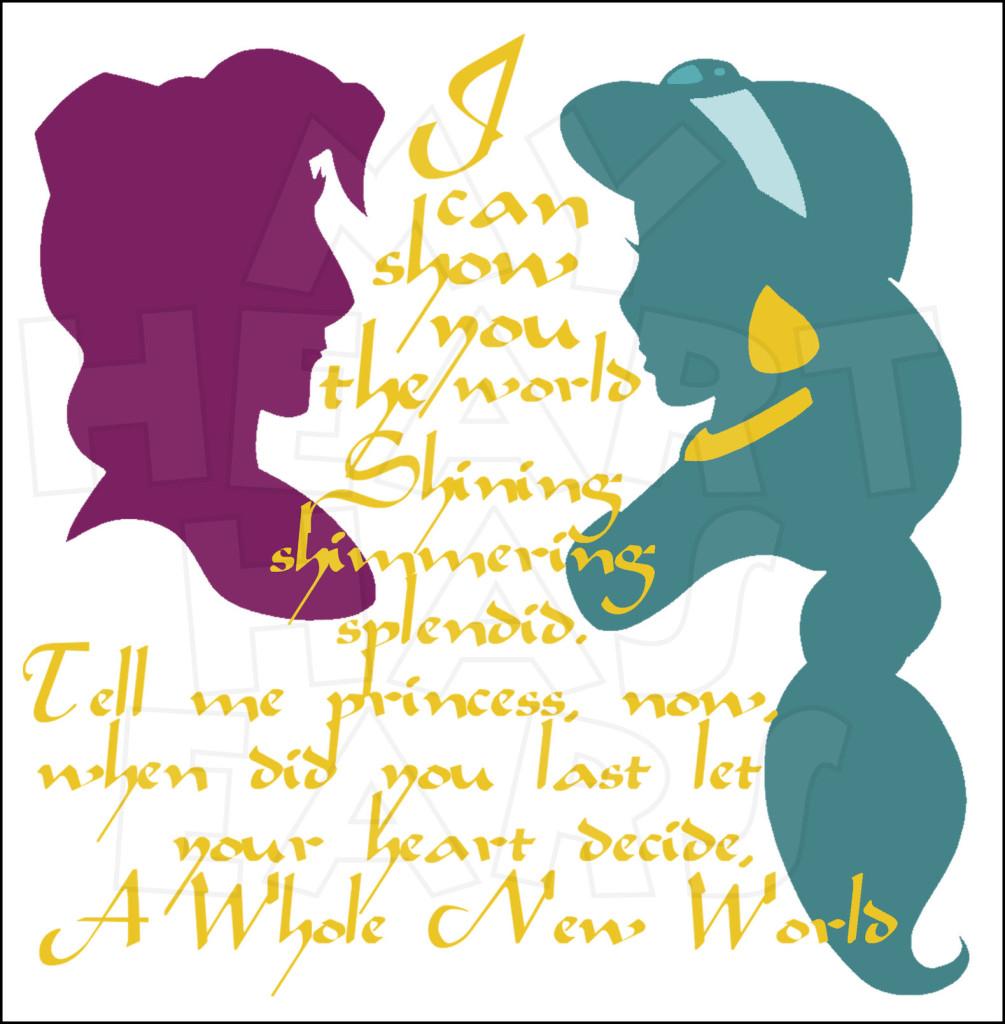 Alladin clipart quaote picture royalty free download Jasmine and Aladdin Silhouettes A whole new world INSTANT DOWNLOAD ... picture royalty free download