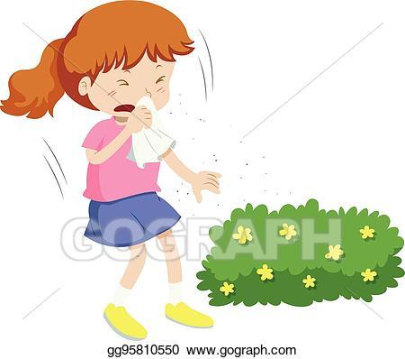 Allergy list for children clipart clip library stock Vector Art - Girl having allergy from pollen. Clipart Drawing ... clip library stock