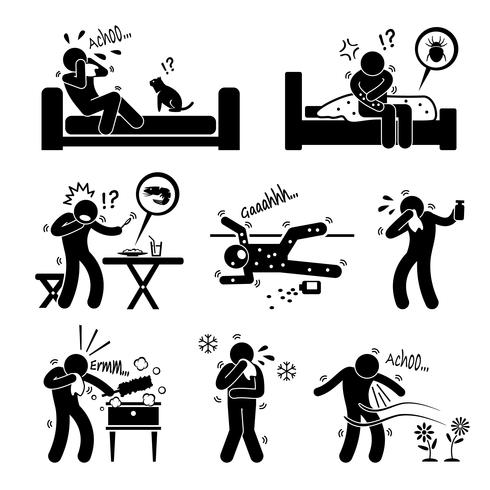 Allergy medicine clipart picture transparent library Allergy Reactions of Animal Food Environment on Human Stick Figure ... picture transparent library