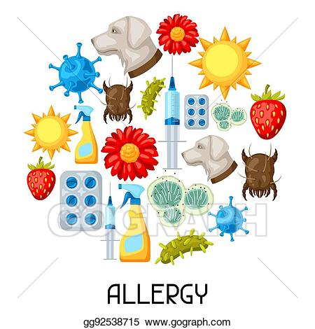 Allergy medicine clipart png library stock Vector Clipart - Allergy. background with allergens and symbols ... png library stock