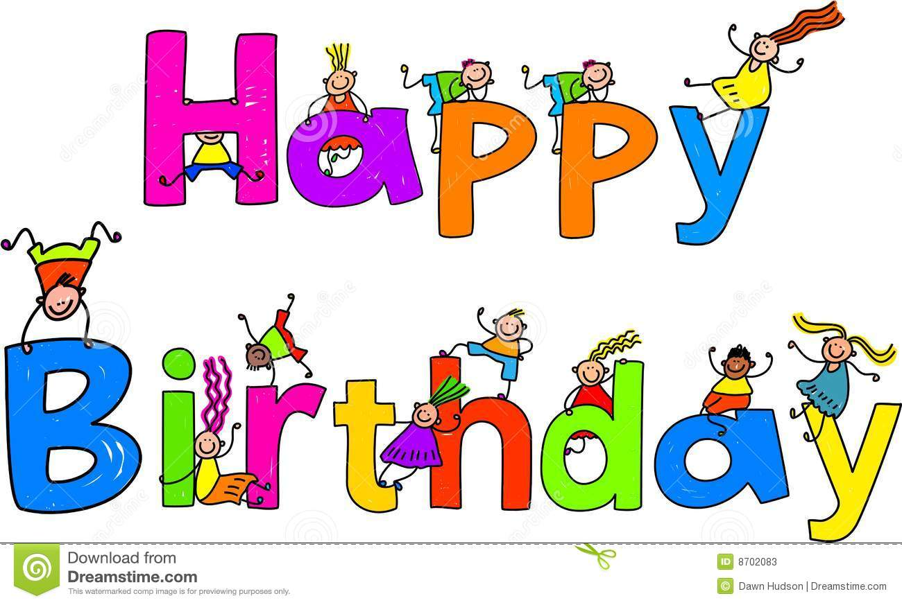 Happy Birthday Cartoon Text Clipart Stock Illustration - Image ... picture free