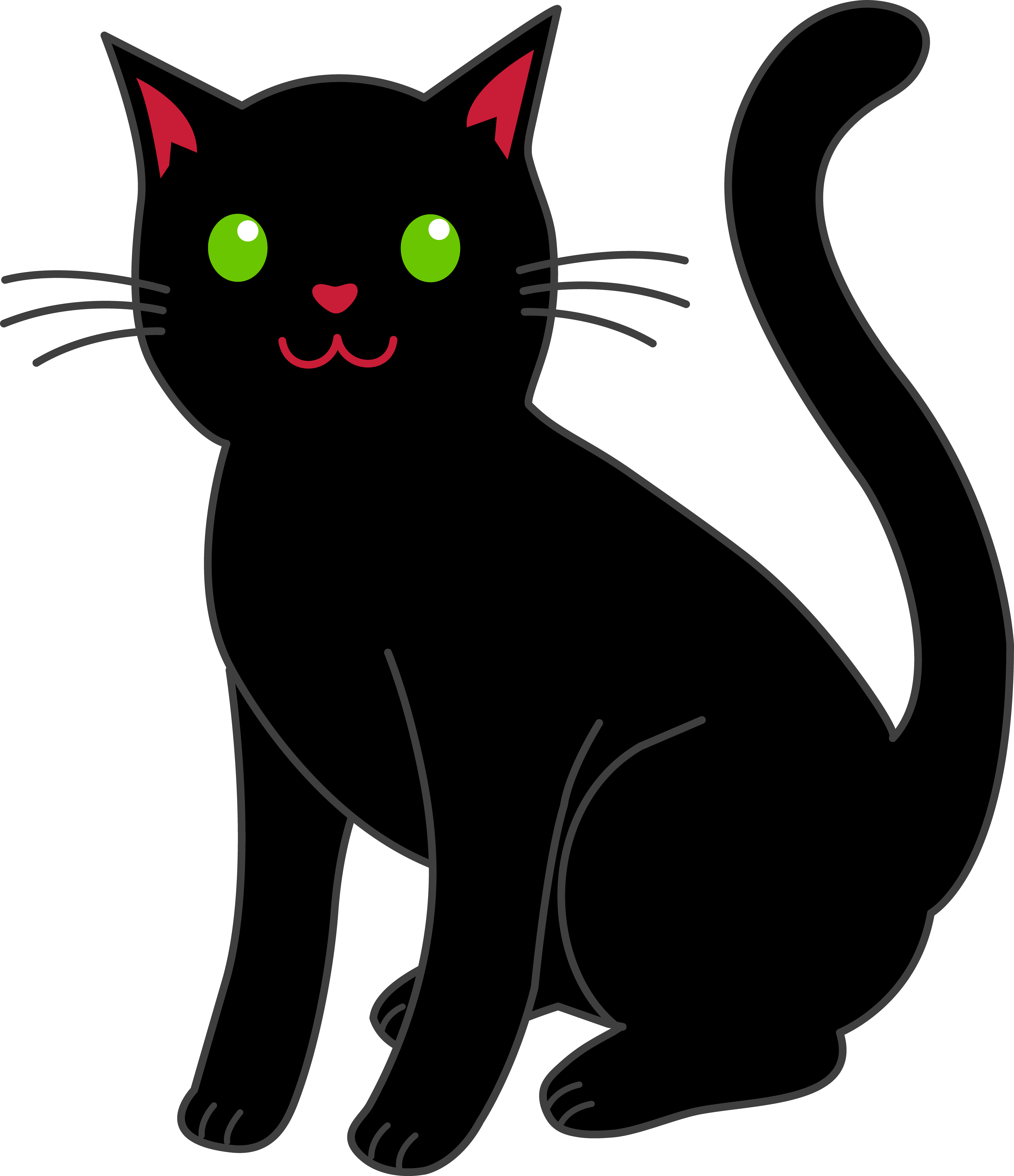 Simple Black Halloween Cat - Free Clip Art clip art royalty free download