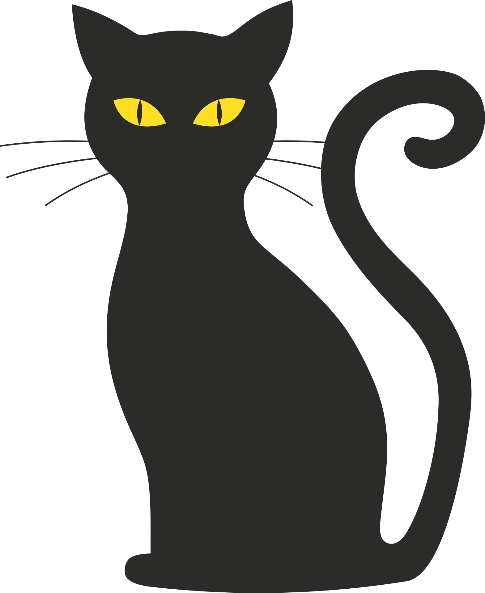 Singing cat clipart clipart black and white Szablon kota png czarny / Cat silhouette / public domain | Kot ... clipart black and white