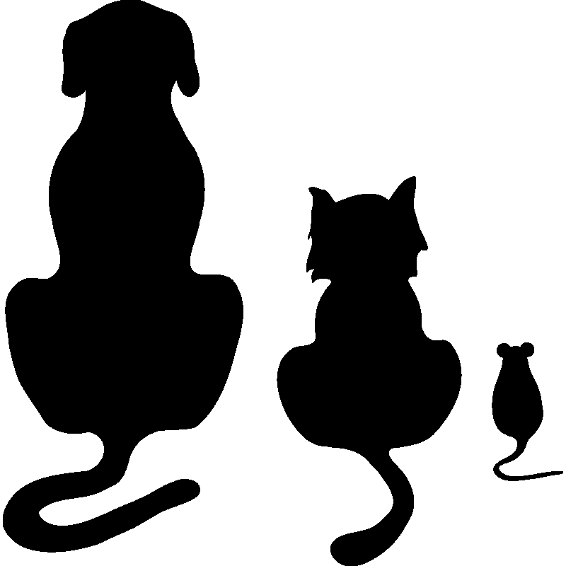 Cat and dog sitting silouette clipart black and white 1271263310dog_cat_and_mousepng.png (800×800) … | Decoupag… black and white